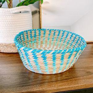 Boho Blue Woven Wicker Storage Basket Bowl